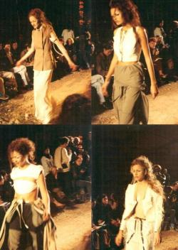 "vroomheid:  Martin Margiela spring / summer 1990  October 10th, 1989 ""People talk about Martin Margiela who has presented his collection on a terrain vague. I am intrigued and attracted. Sounds alternative or underground. We hadn't had that for a while."" — Marina Faust   shot on a simple 35 mm film camera"