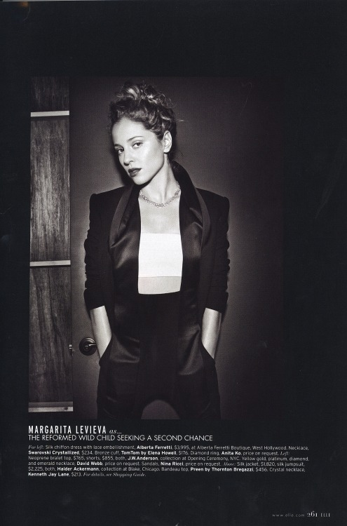 Margarita Levieva , playing Amanda Clark for ABC's Revenge, styled for ELLE Magazine by Jamal.