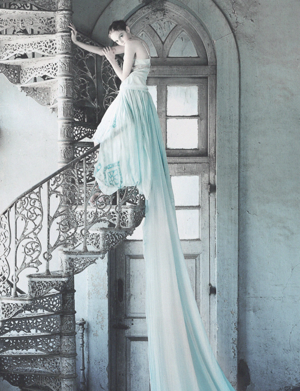 Lily Cole wearing a Stella McCartney gown shot by Tim Walker in India for Vogue UK July 2005