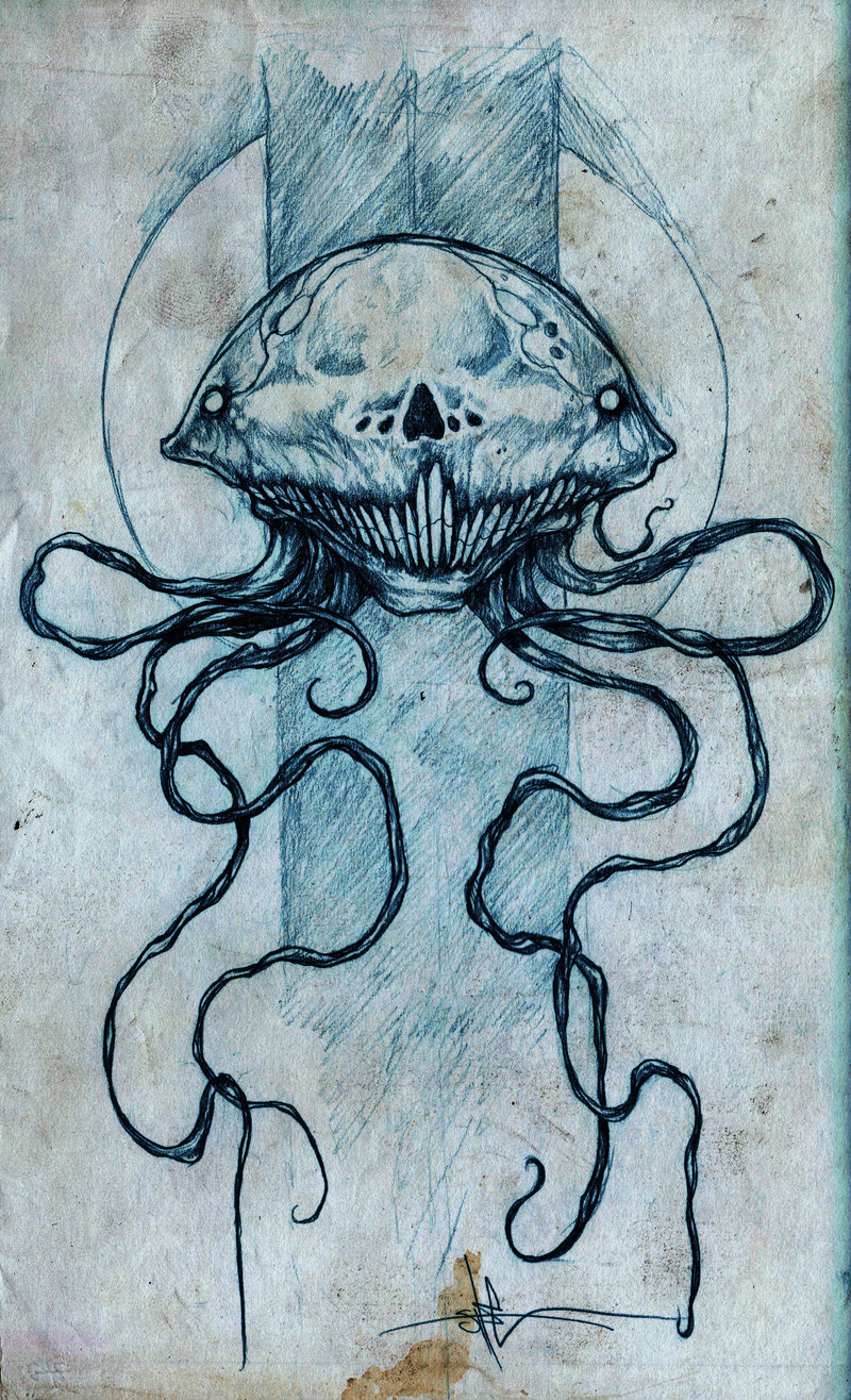 shawncossart:  skellyfish sketch on lack of sleep.