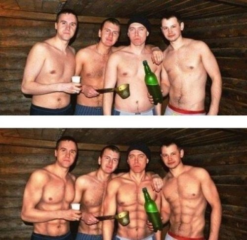 collegehumor:  Photoshop Masters Abs See if you can spot the difference in self-esteem.
