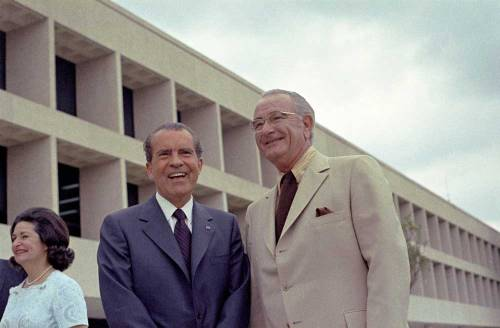 Lady Bird Johnson, President Richard Nixon, and Lyndon B. Johnson at the dedication of the Lyndon Baines Johnson Library and Museum. May 22, 1971. Watch the live webcast of the George W. Bush Presidential Library and Museum Dedication at http://www.bushcenter.org/live