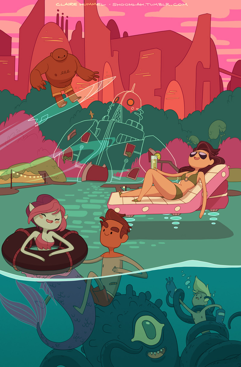 My variant cover for Bravest Warriors #09 was just announced! Was given pretty much free reign to do what I wanted, and this was the thumbnail that the editor liked the most- can't go wrong with bathing suits and sea monsters! -C