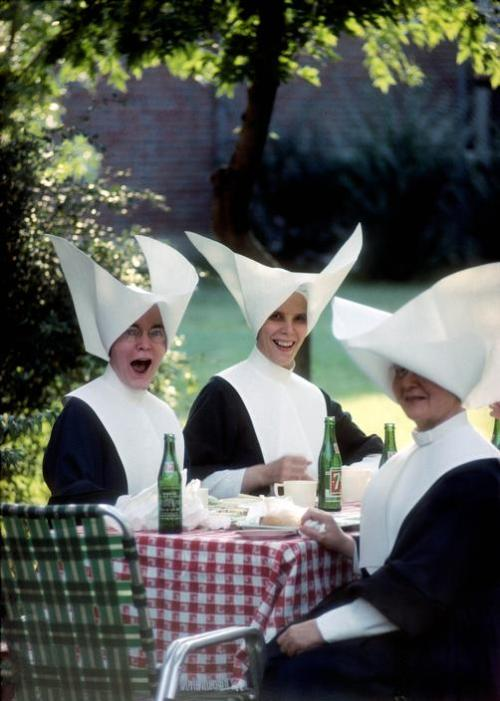 Picnicking nuns with wicked habits. Burt Glinn - Daughters of Charity at a picnic during country retreat, St. Louis, 1964.