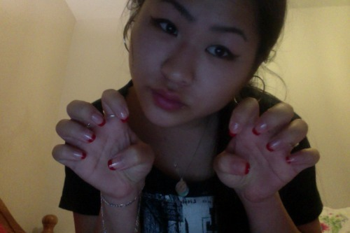 mew i'm a cat and i just did my nails  sidenote; all of my nail stuff is still in falmouth, at lily's so all i had to work with is an ancient unlabelled red and a topcoat