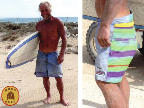 wornwear:  Blue Boardies  Christo Grayling, Alberta, Canada and Baja, Mexico Dear Patagonia, It is with mixed emotions that I return these boardies to you after 15 years of outstanding service. I purchased them from your retail store in Ventura and since then they have had a busy and productive life. They paddled rivers throughout Canada, Chile, Sri Lanka and the States. Surf trips to India Sri Lanka, Indo, Aussie, Peru, Ecuador all over Mexico and have spent way in excess of 60 months accumulated in Southern Baja, where we live 1/2 time. It took years before they required any maintenance, well and as you can see they have a new ass end. A recycled beach umbrella has done the job well. Also the material flap that was hanging off for ages has now been sewn into the butt end of another pair of (non Patagonia) boardies that fell apart … so they still live on. The cut and design of these are amazing, it is hard to find a pair that fits me so well … old school style works for this older shorter guy. So, hopefully your R&D group may find some way of bringing back this functional style and rugged piece of gear. Oh yeah, are they still covered by your legendary warranty and repair service? Thanks for helping life be that much better and making great gear … ―Christo