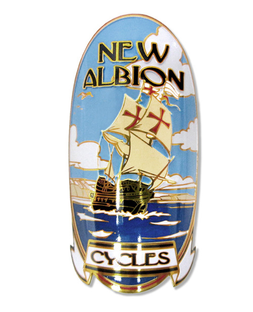 nickrearden:  Lovely headbadge for forthcoming bike brand New Albion Cycles, a sister ship to Soma Fabrications in California. There's a superb description of the design process for the new headbadge here. Hadn't realised that Sir Frances Drake landed in Marin County. Perhaps Mr Gary Fisher's pleasure in fine tweeds is the result of some genetic connection?  Neato!