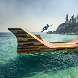 chachidesign:  Floating skateboard ramp installed on Lake Tahoe for pro-skater Bob Burnquist http://ift.tt/1nRDPuj