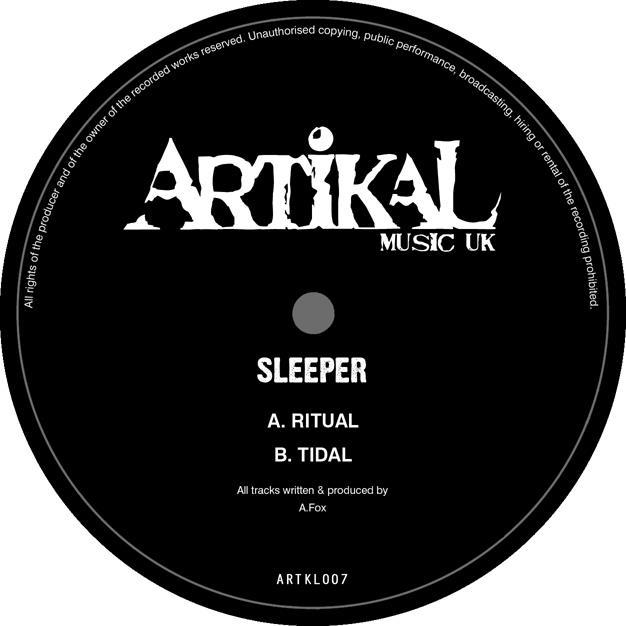 Sleeper - 'Ritual' / 'Tidal' / 'Quadrant' - [Artikal Music]  Ritual kicks off with a tense pad highlighted by timid hi-hats and a high register lead that sets the completely eerie mood of this tune.  Without much warning, this production is suddenly brought to life as energetic bongos swoop in to up the pace of the surrounding elements.  Additional synthetic elements serve to further the tension of the intro as they dance around the percussion. The drop hits with a release of the immense energy being built throughout the beginning of the tune.  A relentlessly pumping sub is held in check by the rhythm of a distant snare, closely controlling the pace of this tune.  Between the intertwined atmospheres and subtle evolution of the percussion, there is no denying the primal energy created by Sleeper on this one. After easing into a percussion filled break, the listener is hit with an unexpected second drop.  Setting up the rest of the release, the tune quickly rebuilds all of the lost tension with a deafening combination of bass swells and heavily reverbed snare hits lined up in perfect, half-step fashion.  Tidal picks up right where Ritual left off: with a lingering, damp atmosphere.  Hand drums filter in alongside the shuffle of hi-hats to confirm the tribal rhythms to come.  This time through, Sleeper opts to go slow and steady as he builds towards the drop, which flows seamlessly from the introduction. The arrival of the sub-bass alongside the steady ring of percussion creates a steppy groove which is driven along by the ebb and flow of alternating snare and rim hits.  The reverb set to these elements is astounding as it creates a mood perfectly reminiscent of a foggy, twilight shore.  At the second drop, Sleeper showcases his technical abilities as his percussive elements vary to create a seriously mental groove.  The hand drums weave in between the heavy kick progression, sure to give any listener an intense, head-bobbing workout.  The ever-present atmosphere and developing growls leave listeners intrigued up until the tunes abrupt final bar. As synthetic echoes fill the room above a swirl of spacey atmosphere and crispy percussive elements, there is an unmistakably organic techno vibe given off by Quadrant. The drop slices through, dominated by a pulsing sub, rolling percussion, and a sharp, high register stab that keeps the groove pinned to each beat.  Without warning a twisting reese takes over the mix, signaling for one final release of percussive tension before Quadrant swiftly drops out into a minimal break that leaves listeners uneasy with anticipation. The second drop rolls in with an energy that would not be out of place at a warehouse rave, created by extreme low end power and consistent synth stabs that highlight an undying percussive barrage.  The missing atmosphere and synthetic growls are subtly added back to the mix, until they run in full force once again.  Starting with the heavy percussion, these elements begin to dissipate from their peak, slowly easing the listener off of this enormous tune (and release).   - Drooka -   - http://www.junodownload.com/products/sleeper-ritual/2172444-02/ - - http://www.surus.co.uk/Artikal-Music-UK/Ritual-Tidal-21327.aspx -