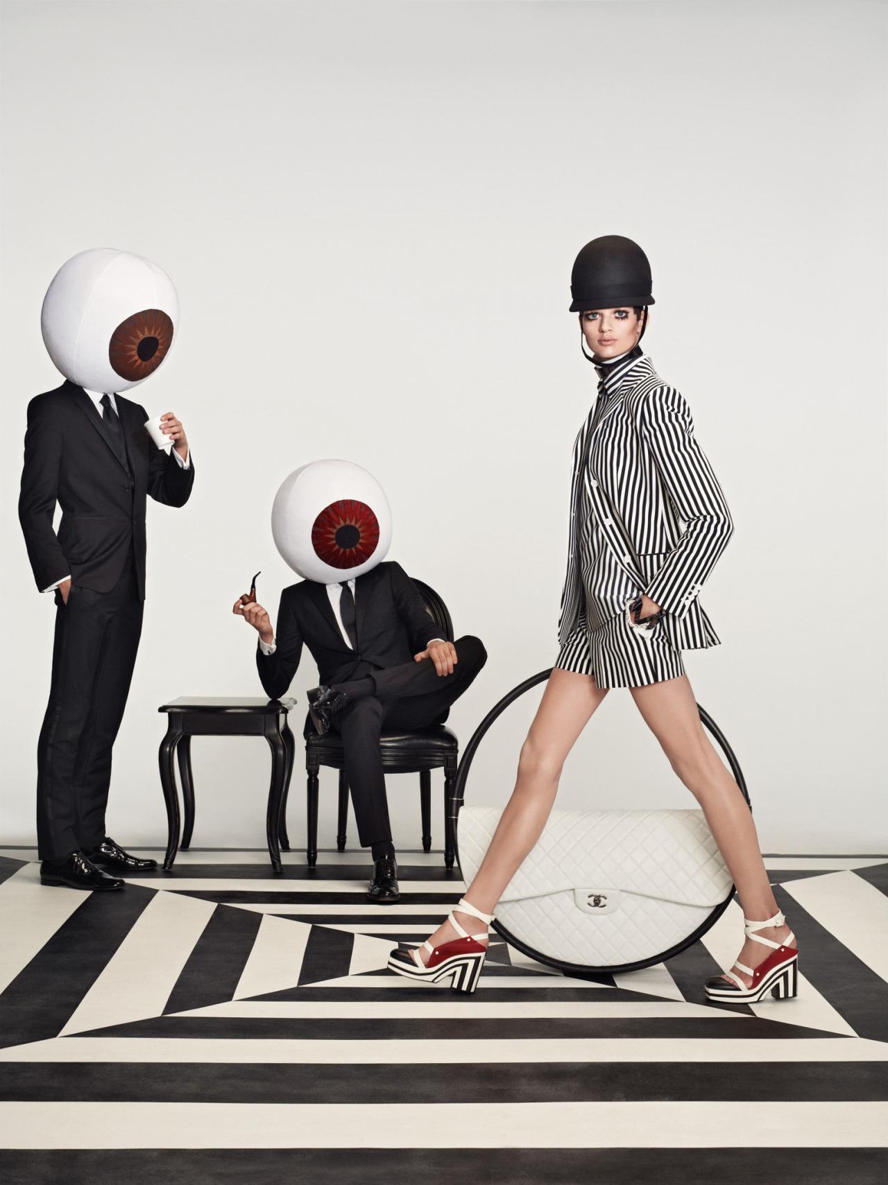 Op art-inspired fashion lives on. Photo by Roe Ethridge, W Magazine January 2013.