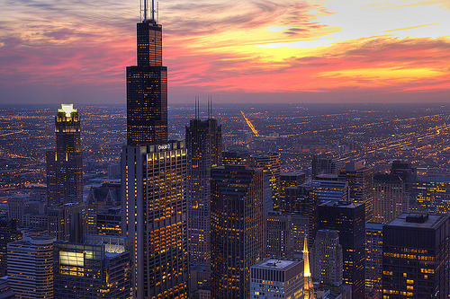 Chicago dusk via redrainclouds