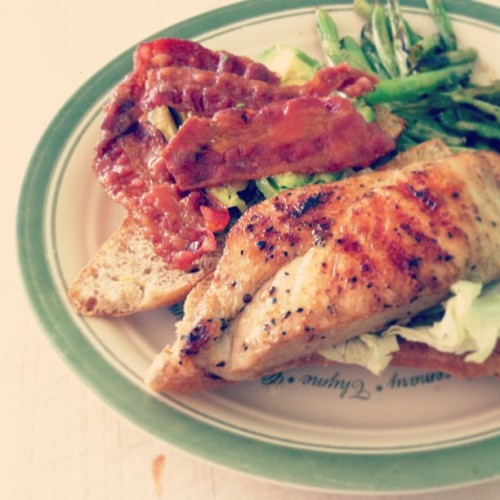 Grilled chicken and bacon sandwich with sautéed green beans. - #food #foodporn #instafood #instagood #bacon #chicken #healthy #fitspiration #iphoneography #iphone #ignation #igfood #icancook #getinmybelly #yummy