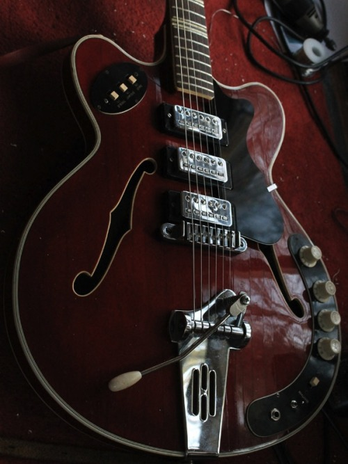 "1965 Hofner 4575. Fans of The Kills will no doubt be aware that Alison Mosshart is fond of rocking out on one of these but this gorgeous looking creature was found on the website of Manchesterguitartech, and he's highlighted that ""Eagle-eyed aficionados will spot that the tremolo arm is not correct"". It might not be the correct one, but it's not exactly spoiling the view at all…"