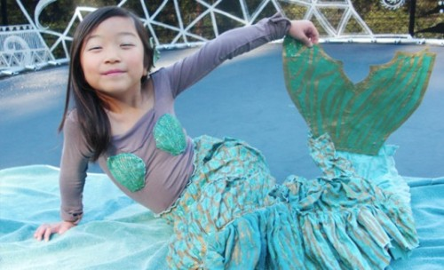 """ Adorable Little Asian Mermaid ""  ….  In her homemade, ""green"" Halloween costume."