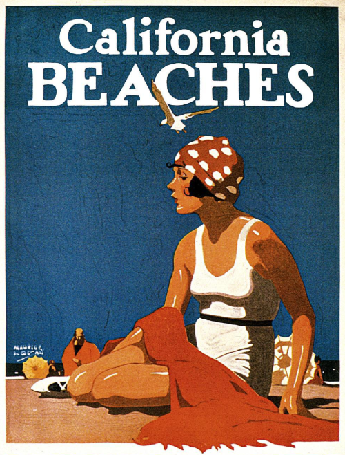 Vintage California poster print from 1923 advertising the wonderful beaches of California …
