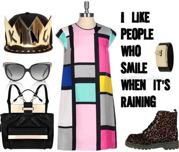 "I like people that smile when it rains. by charlie-fi featuring a kates spadeKate Spade kates spade / A|X Armani Exchange engraved jewelry / Bulgari logo sunglasses, $13,930 / Snapback hat / River Island Black metal plate geometric back pack, $62 / I like people who smile when it's raining 8""x10"" Printable"