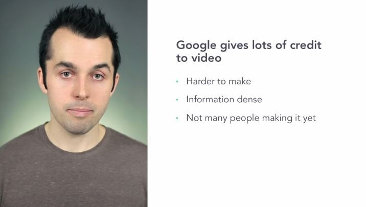 Google gives lots of credit to video because: it's harder to make, it's information dense and, there is not many people making it yet. Do not be one of those people anymore and make your Videolean in minutes.