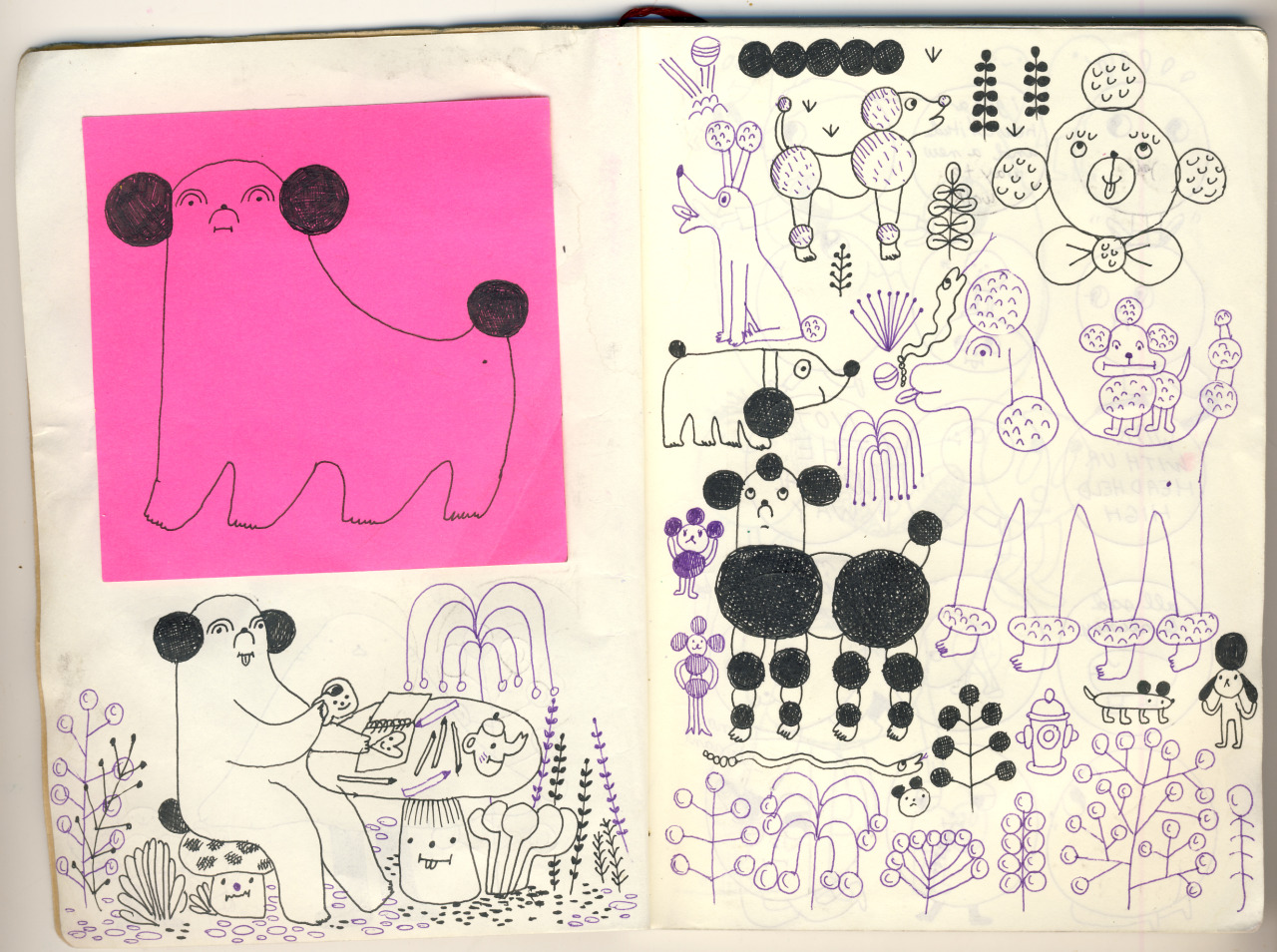 etteette:  lots of doggis some these doodles became Friendly the Poodle paper toy and others were turned into stickers which have yet to be 'released' (soon!!)