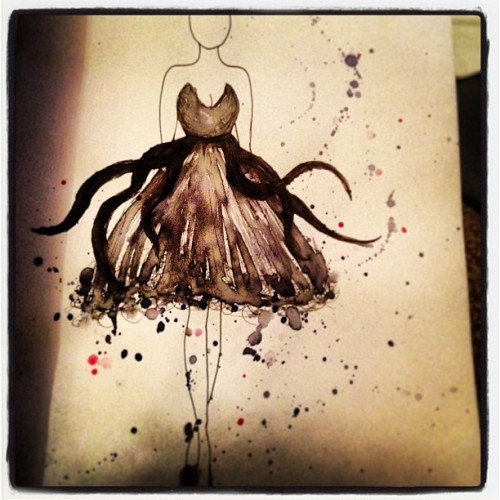 My Disney Ursula inspired dress design…
