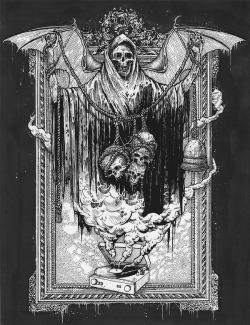 death skulls gore dark morbid dead darkness Demon gothic Macabre satanic disturbing baphomet da occult macabre art demonic dark art Mark Riddick black metal art satanic art Riddick Art baphoment