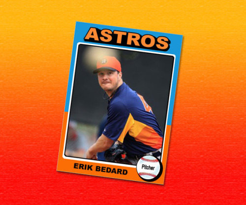 Erik Bedard baseball card using a 1975 Topps template.