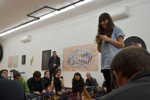blog-illuminatigirlgang:  mira gonzalez at the pop serial reading [photo by amy saul-zerby]