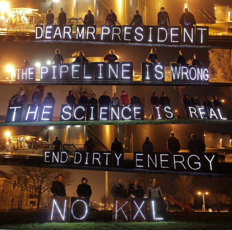 #OLB - OverPass Light Brigade - Dear Mr. President @BarackObama - #KXL #KeystoneXL #Fracking The question right now: Will he, or won't he? Will President Obama make good on his implicit electoral promises and full-throated enthusiasm for a new energy future, or will he capitulate to the power and greed of Dirty Oil? KXL (yes or no) will be his decision. These are composite stills from an OLB video coming soon, shot by filmmaker Dusan Harminc in three different locations around Wisconsin.