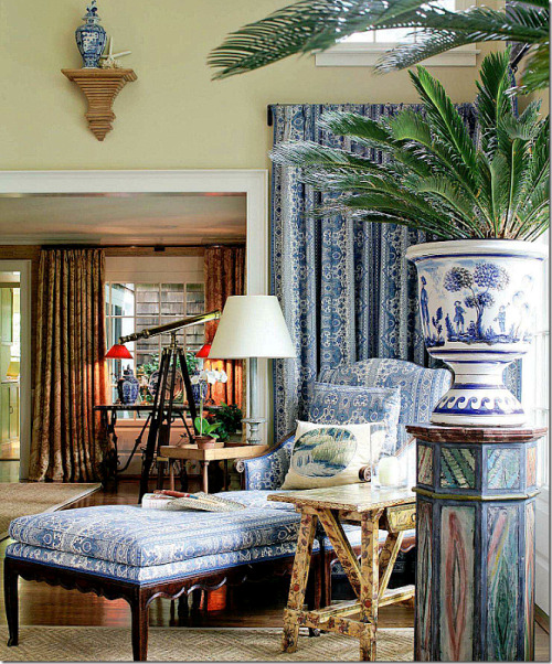 | Cote de Texas | Love the abundance of fabric in Charlotte Moss's sunroom.  xxDC