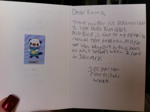 mackenziereader:  pokemonerds:  imnotcharizardyet:  I gave a 6 year old a really really rare old nidoking card for his birthday, I expected him to only know the newer generations of pokemon but I got this back in the mail, looks like there's still hope for the young poke fans! This made me sososo happy(x  Except he isn't normal type.. but poison and ground. He has many years to learn though lol  But it was a Pokemon card, which doesn't have poison. Nidoking was categorized as Normal on the card game.  Doesn't mean he's a normal type pokemon ;] but it doesn't matter, he's 6.