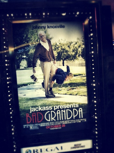 MOVIE REVIEW: BAD GRANDPA. This isn't quite what I expected from this movie - the pranks and bits were classic Jackass, but I thought the storyline was awkward and forced. I was hoping for something WAY more outrageous and offensive - along the lines of Borat, but it was pretty tame compared to that. The little kid and the beauty pageant scenes in this movie were the best. And stay for the outtakes. GRADE: C