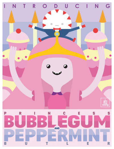 iamthewong:  Introducing Princess Bubblegum and Peppermint Butler. 2/3 of an Art Deco poster project for uni.