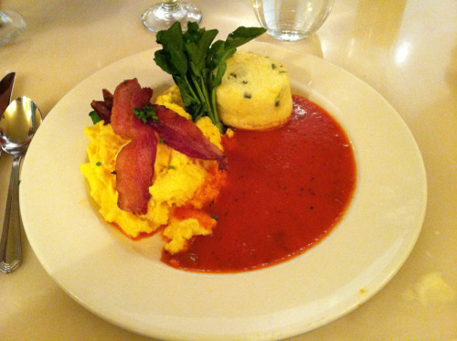 Scrambeled Eggs with Bacon, Cheddar Grits Cake, and Red Pepper Sauce, Sarabeth's, New York, NY. From yesterday