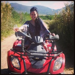 Oh yes, I like to ATV in a wedding dress… avec un verre de vin #monpellier #southafrica