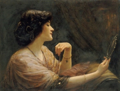 "the-garden-of-delights:  ""The Mirror"" (1911) by Frank Markham Skipworth (1854-1929)."