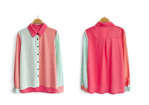 Spring Trends Polo Neck Splicing Blocking Color Chiffon Blouse For Women
