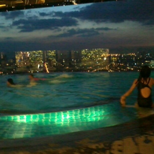 swim above the city.. #summer  #perfectwaytoendanight
