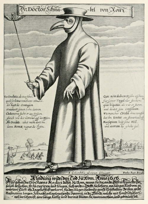 plague doctor engraving by Paul Fürst, 1656