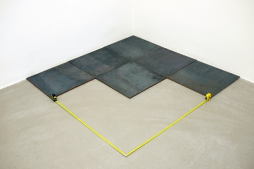 Carl Andre 3rd Steel Triangle; 1 x 150 x 150 cm 2008 | Ahmet Ögüt intervention n.1: 2 tape measures 2011 SFMOMA, I love your blog so much. Carl Andre, you already know how I feel about you. Ahmet Ögüt, it's nice to meet you and thank you for making me feel things.