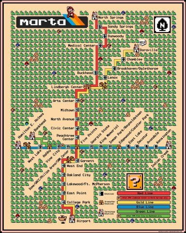 atlurbanist:  Mario MARTA map. I don't know what to say about this except that it makes me smile.  via fritztape