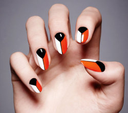 Graphic nails I created for @Fabulousmag - check out the how to here - http://fabulousmag.co.uk/2013/05/06/how-to-do-graphic-nails/