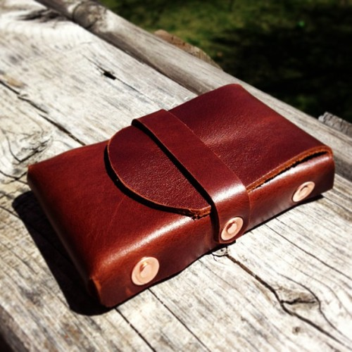 Riveted Card Case - Prototype. #leathercraft #copper #handmade #kgleather  (at KG Leather)