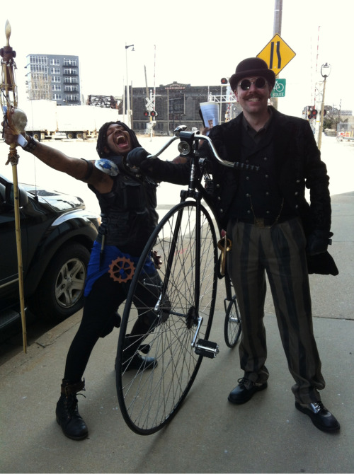 milwaukeesteampunksociety:  Azari and Klinger with pennyfarthing.