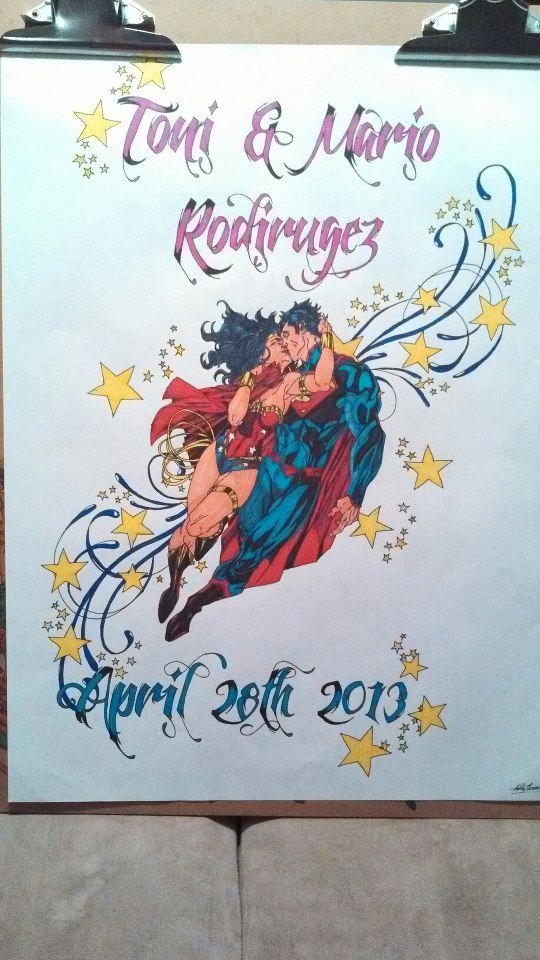 "Superman and wonder woman wedding presentby ~BonesteelDesigns ""Did this for a lady on her special day. ^_^"""