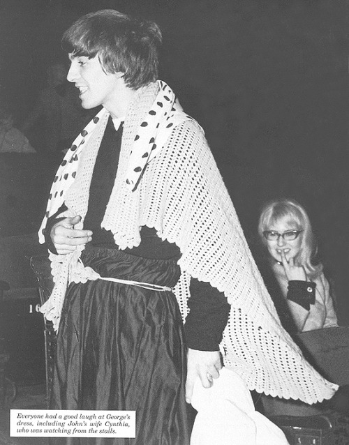 beatlegirlsworld:  I really love this picture. Grandma George but just look at Cyn…omg. The Beatles Christmas Show, Finsbury Park Astoria, 1963.