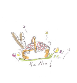 A spring Picnic on the grass…wow! illustration by Ilaria Vallone