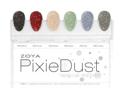 "Infused with Magic and Wonder! Featuring the latest ""must-have"" nail polish finish – Textured, Matte & Sparkling. This newly developed formula is sure to captivate with a magical sparkle and sugary finish like no other. The color experts at Zoya have created six, long-wearing stunners for the introduction of this look… Zoya's spring 2013 PixieDust collection includes the following six shades: Dahlia - Black Beauty sparkle, exclusive Zoya PixieDust Matte Sparkle formula. Chyna - Red Dazzle sparkle, exclusive Zoya PixieDust Matte Sparkle formula. Godiva - Soft Nude sparkle, exclusive Zoya PixieDust Matte Sparkle formula. Vespa - Mint Kiss sparkle, exclusive Zoya PixieDust Matte Sparkle formula. Nyx - Perfect Periwinkle sparkle, exclusive Zoya PixieDust Matte Sparkle formula. London - Fog Gray sparkle, exclusive Zoya PixieDust Matte Sparkle formula. Instructions for Zoya PixieDust application: Clean and prep nail using Zoya Remove + Magic Time! Apply 1 thin coat of Zoya PixieDust to each nail - allow to dry completely (will appear matte with sparkle). Apply an 1-2 coats of polish (allowing each to dry) as desired. We suggest 2-3 thin coats of Zoya PixieDust for a full coverage manicure. That's it - Done! You now have the latest textured nail look in the famous long-wearing, Big5Free Zoya PixieDust Nail Polish formula! NOTE: Zoya PixieDust Nail Polish dry times are a little slower than with traditional polish but once dry, the Zoya PixieDust formulation will provide extended wear. Best results are achieved by using the product alone. No basecoat or topcoat required. Layering of the Zoya PixieDust formulation with other polishes may produce less than desirable results. Remove Zoya PixieDust by saturating a cotton pad in Zoya Remove + and pressing to nail for a few seconds. Repeat on each nail for best results. Ultra long-wearing, glossy nail lacquers by Zoya are BIG5FREE - all formulas are completely free of harmful industrial chemicals such as toluene, camphor, formaldehyde, formaldehyde resin and dibutyl phthalate (DBP) that are known to cause cancer and birth defects. Starting January 15, 2013, find Zoya Lovely as well as over 300 other ultra high-fashion Zoya shades at zoya.com. This looks STUNNING and so unique! I have no idea whether or not I'll love it as much on my nails because I still don't have enough experience with the textured nail polish trend, but I am way too intrigued not to want to try this as soon as I can! How about you?"
