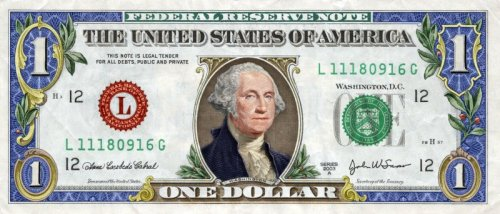 Colorized Dollar Bill  Art corrupts money.