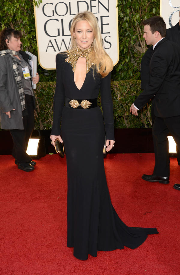 Kate Hudson - Kate Hudson wearing an Alexander McQueen Pre AW13 black gown with gold embroidered nec