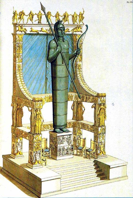 The Colossal throne of Apollo amyklaios near Sparta , 14,5 metres high, one of the most impressive structures in Greek antiquity - 6th Century BC