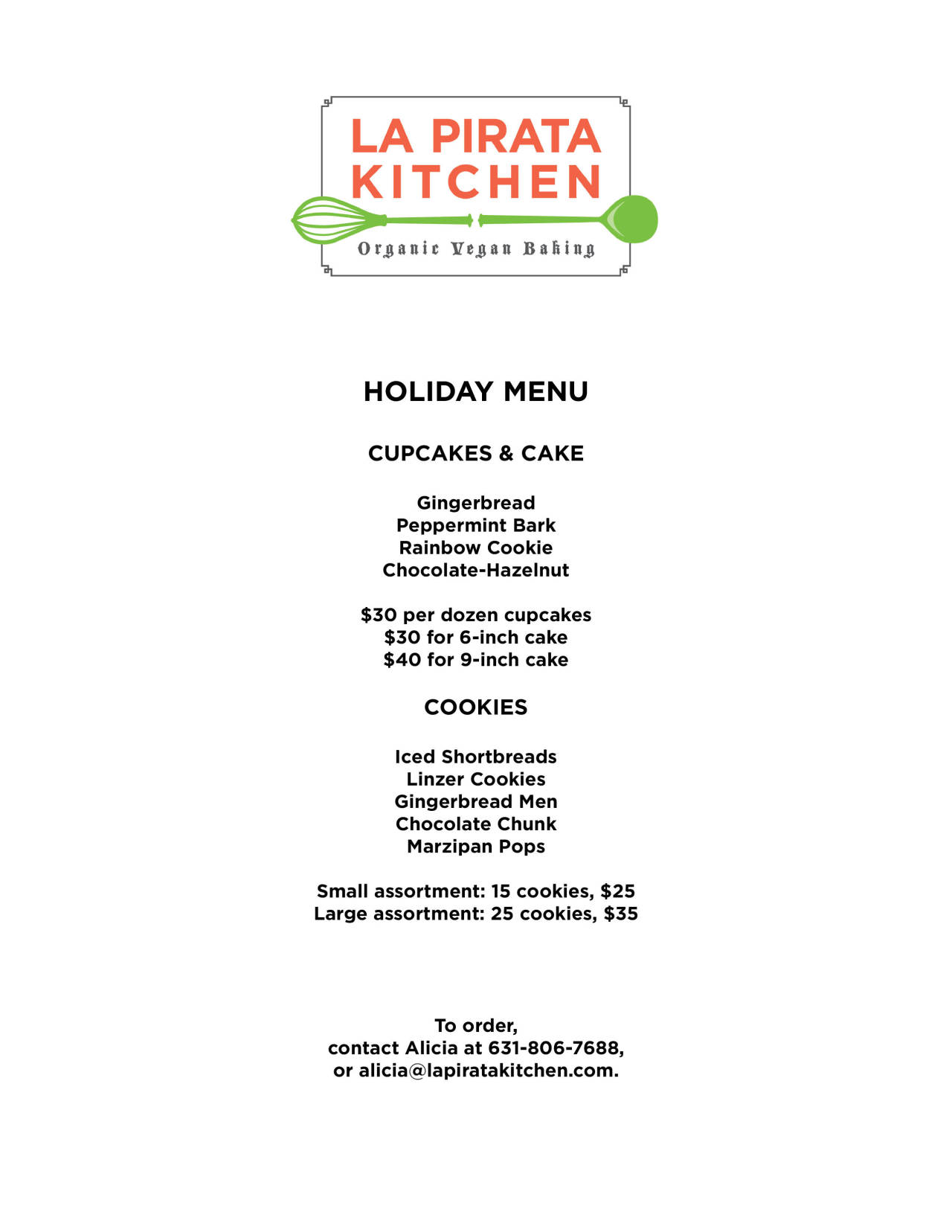 Here's the holiday menu! (Trying to be better with our presence beyond Facebook.)